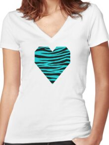 0205 Dark Turquoise Tiger Women's Fitted V-Neck T-Shirt