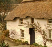 TRADITIONAL THATCHED COTTAGE BY FORD IN CORNWALL Sticker