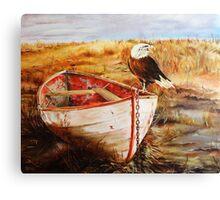 Bald eagle on abandoned boat Canvas Print
