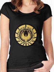 Battlestar Galactica Golden Logo Women's Fitted Scoop T-Shirt