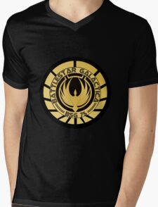 Battlestar Galactica Golden Logo Mens V-Neck T-Shirt