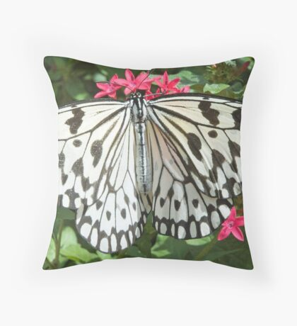 Paper Kite White Butterfly Throw Pillow