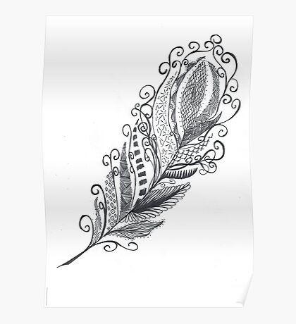 Feather Zentangle - Hand Drawn Poster