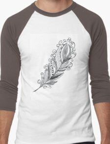 Feather Zentangle - Hand Drawn Men's Baseball ¾ T-Shirt