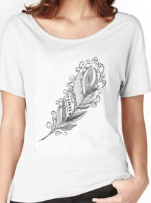 Feather Zentangle - Hand Drawn Women's Relaxed Fit T-Shirt