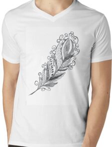 Feather Zentangle - Hand Drawn Mens V-Neck T-Shirt