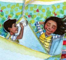 Watercolor of imaginative kids in paper boat  Sticker