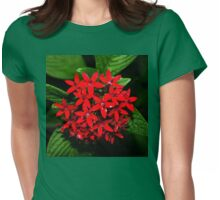 Damp red flowers Womens Fitted T-Shirt