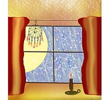 A Warm Winter Refuge - Dreamcatcher and Candle Flame Photographic Print