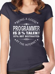 Being a Good Programmer Is 3% Talent and 97% Not Being Distracted By the Internet Women's Fitted Scoop T-Shirt