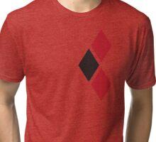 Harley Quinn black and red diamonds split Tri-blend T-Shirt