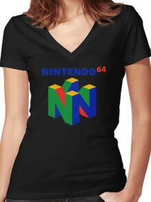 Nintendo 64 N64 Classic Video Game Women's Fitted V-Neck T-Shirt