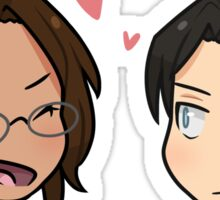 Levi x Hanji chibi heads Sticker