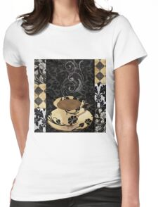 Cafe Noir Damask Womens Fitted T-Shirt