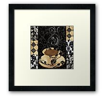 Cafe Noir Damask Framed Print