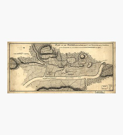 American Revolutionary War Era Maps 1750-1786 795 Plan of the position which the army under Lt Genl Burgoyne took at Saratoga on the 10th of September 1777 Photographic Print