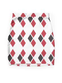 Harley Quinn black and red diamonds Mini Skirt