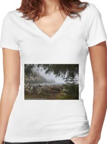 Waikiki Beach, Cape Disappointment State Park, Washington Women's Fitted V-Neck T-Shirt