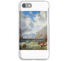 John Wilson Carmichael - A large Second Rate, probably H.M.S. Asia passing through local small craft off Gibraltar iPhone Case/Skin