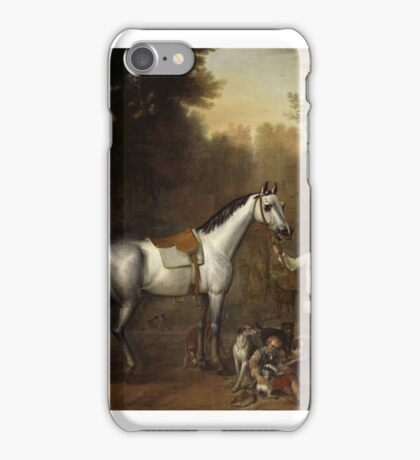John Wootton 'Viscount Weymouth's Hunt, A Groom holding a Saddled Grey Hunter with Hounds iPhone Case/Skin