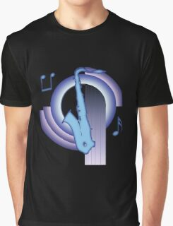 Deco Saxophone (Cool Colors) Graphic T-Shirt