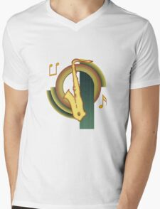 Deco Saxophone Mens V-Neck T-Shirt