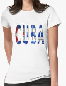 Cuba Word With Flag Texture Womens Fitted T-Shirt