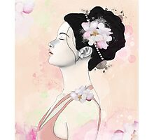 Woman with cherry blossom flowers Photographic Print