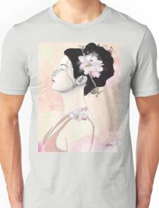 Woman with cherry blossom flowers Unisex T-Shirt