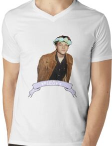 Leo and Flowers Mens V-Neck T-Shirt