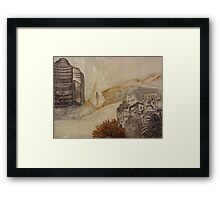 Travelling in glass pyramid between modern city and historic abandoned town Framed Print