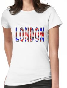London Word With Flag Texture Womens Fitted T-Shirt