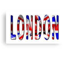 London Word With Flag Texture Canvas Print