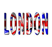 London Word With Flag Texture Photographic Print