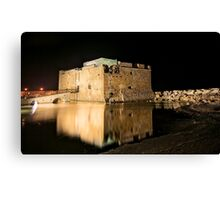 Castle of Paphos at night  Canvas Print