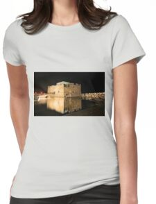 Castle of Paphos at night  Womens Fitted T-Shirt