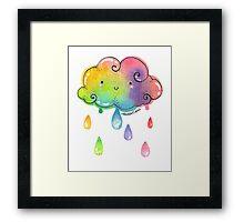 Kawaii Rainbow Cloud Framed Print