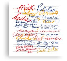 Nan's Shopping List Canvas Print