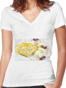 Dessert With The Taste of Summer Rose Women's Fitted V-Neck T-Shirt