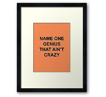 Name one genius that ain't crazy Framed Print