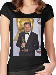 Leonardo DiCaprio with the Oscar (2) Women's Fitted Scoop T-Shirt