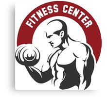 Fitness center or gym emblem Canvas Print