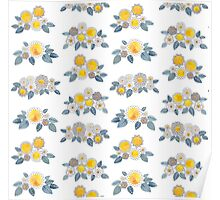 flower bunches - indigo and indian yellow Poster