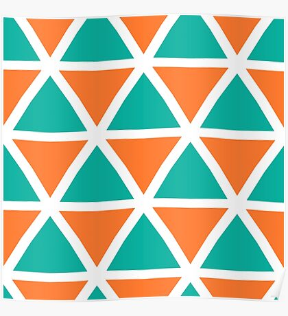 Orange green triangles pattern Poster