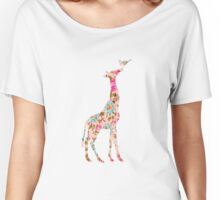 Floral Giraffe  Women's Relaxed Fit T-Shirt