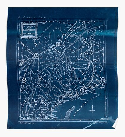 American Revolutionary War Era Maps 1750-1786 299 An Accurate map of New Hampshire in New England from a late survey Inverted Poster