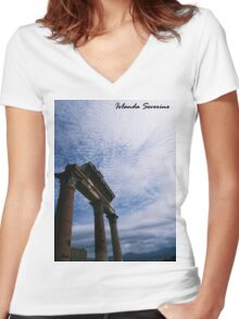 pompeii, naples, italy, landscape, infinity, nature , Women's Fitted V-Neck T-Shirt