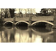 The old Weybridge bridge over the Wey Photographic Print