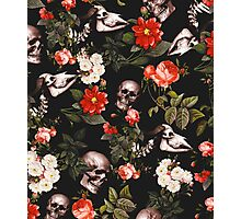 Floral and Skull Pattern Photographic Print