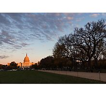 Soft Orange Glow - US Capitol and the National Mall at Sunset Photographic Print